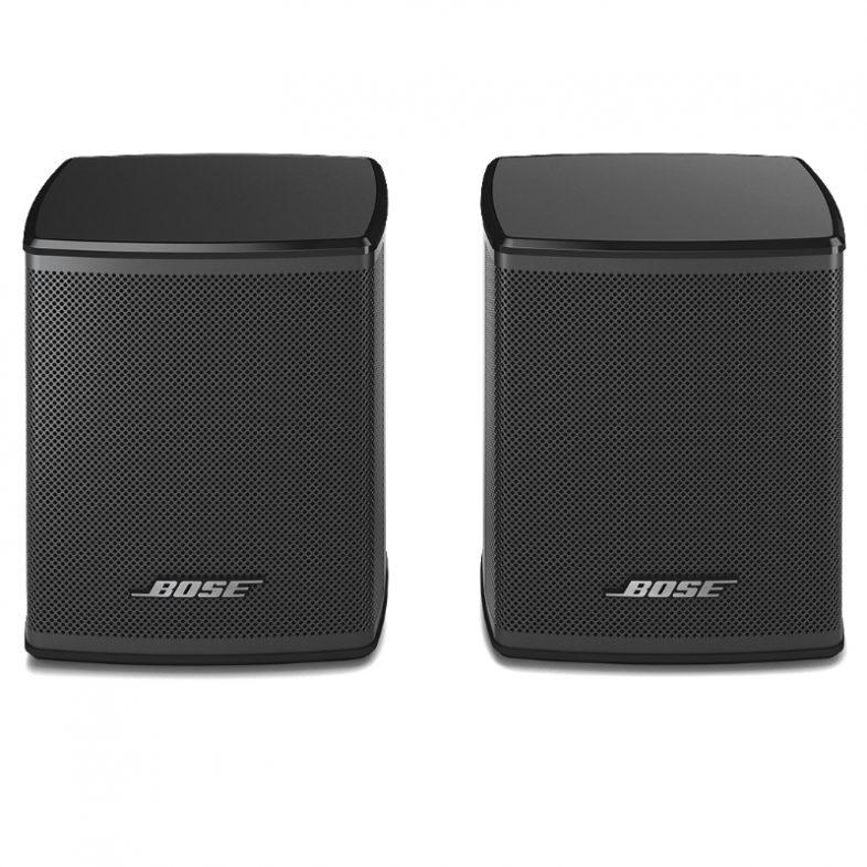 Bose surround speakers i sort ved siden af hinanden
